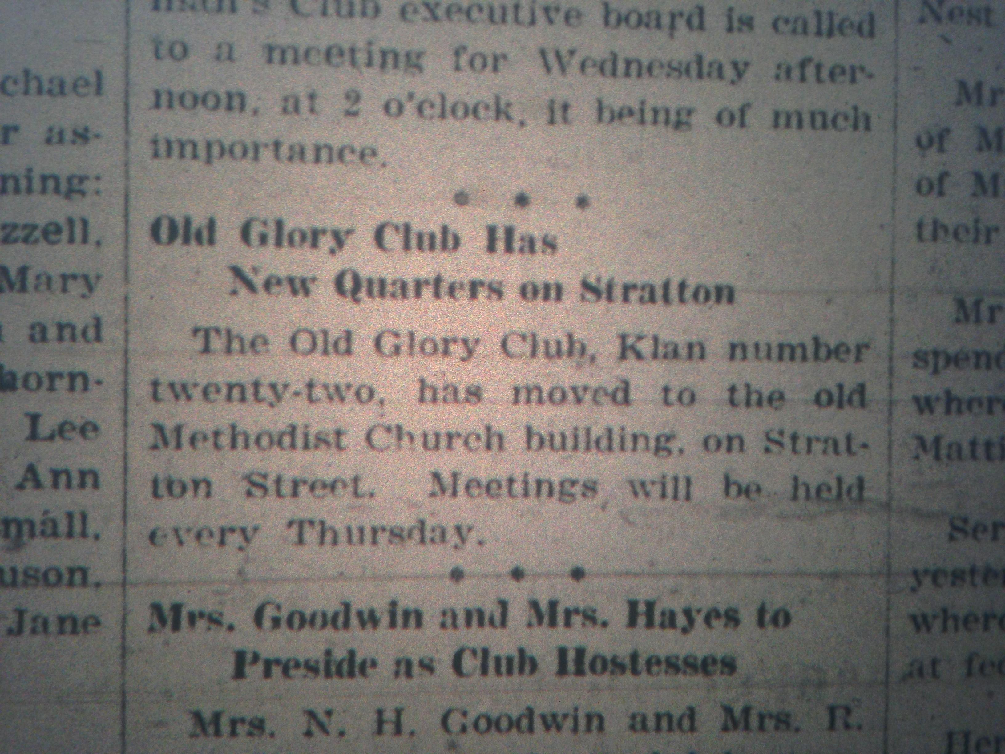 KKK Headquarters in Logan LB 01.17.1928