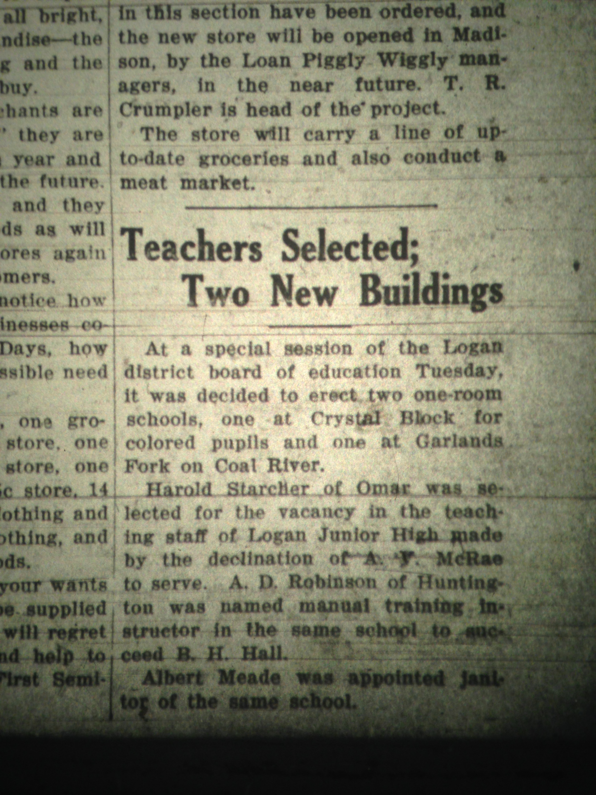 New Colored School at Crystal Block LB 08.12.1927 1