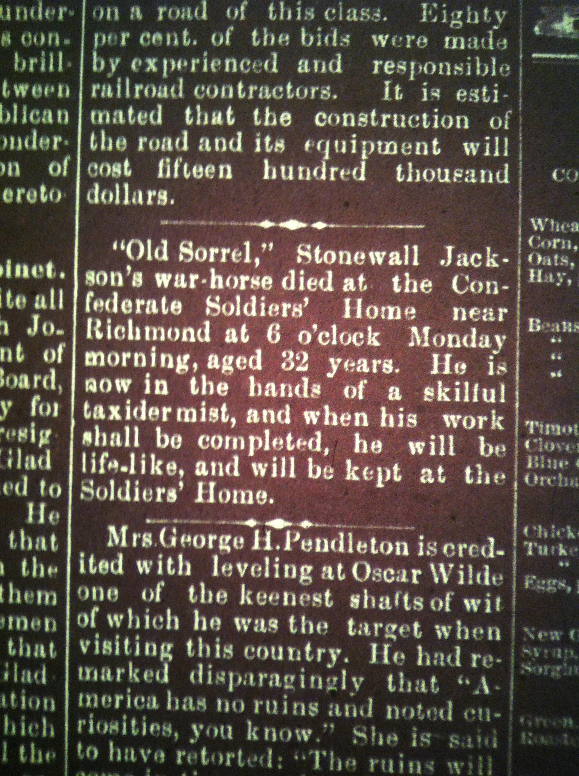 Old Sorrel Dies HA 03.20.1886 2