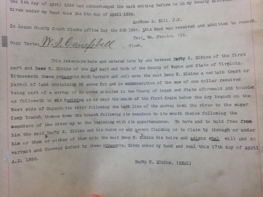 Darby K. Elkins to Reece W. Elkins Deed 1
