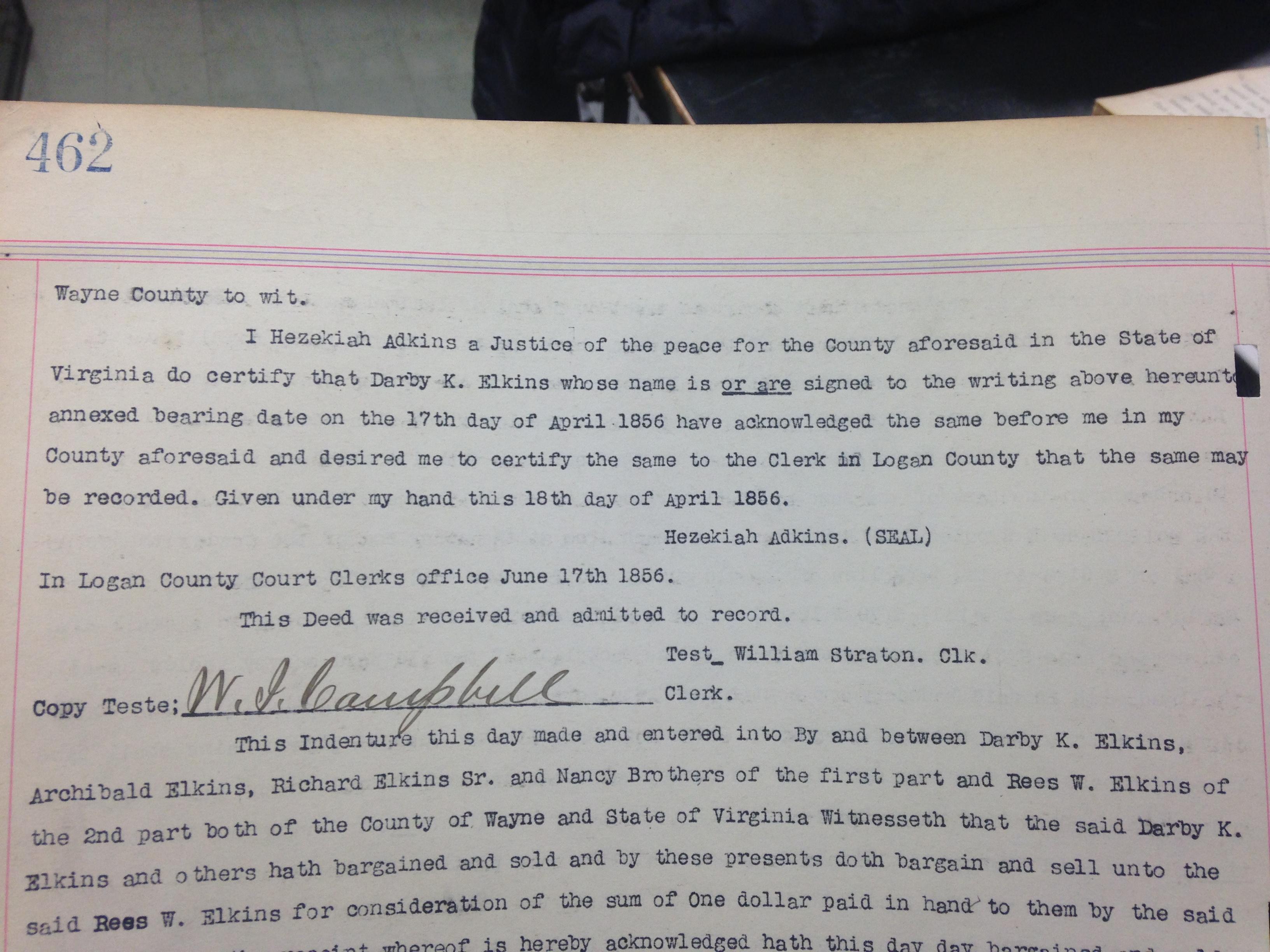 Darby K. Elkins to Reece W. Elkins Deed 2