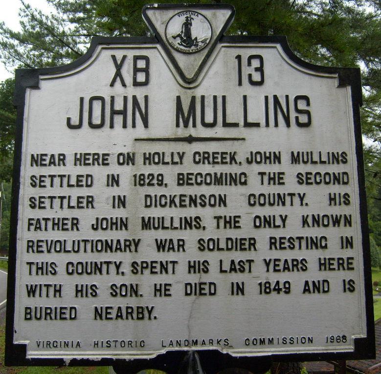 Holly Creek John Mullins Historic Marker
