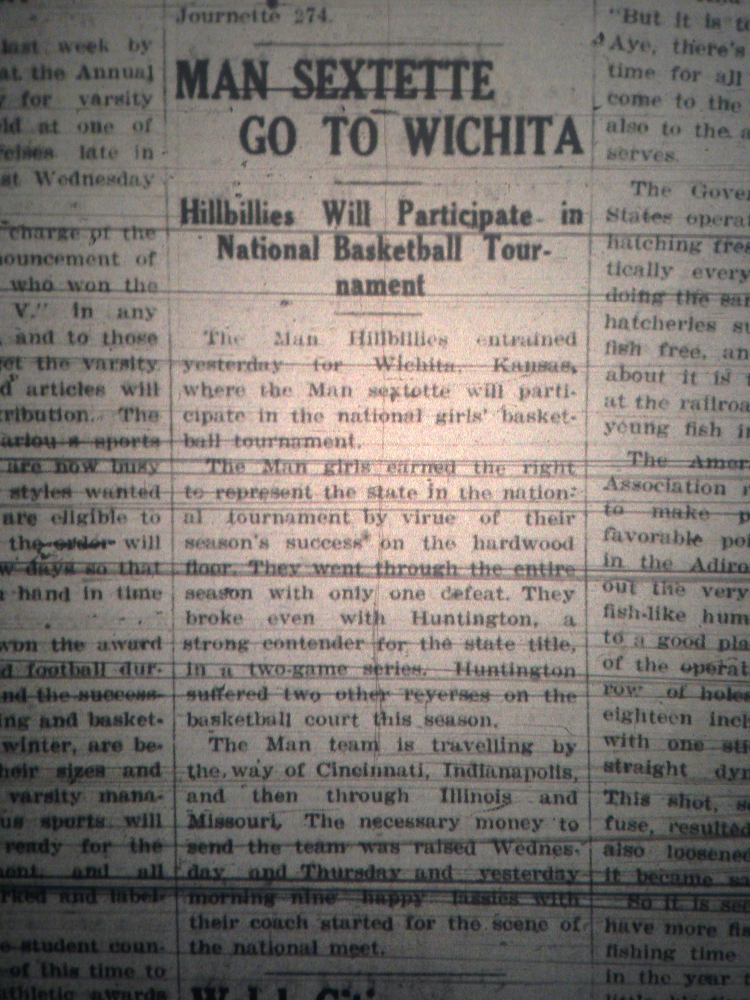 Man HS Girls Basketball Team Goes to Kansas LB 03.27.1928 1