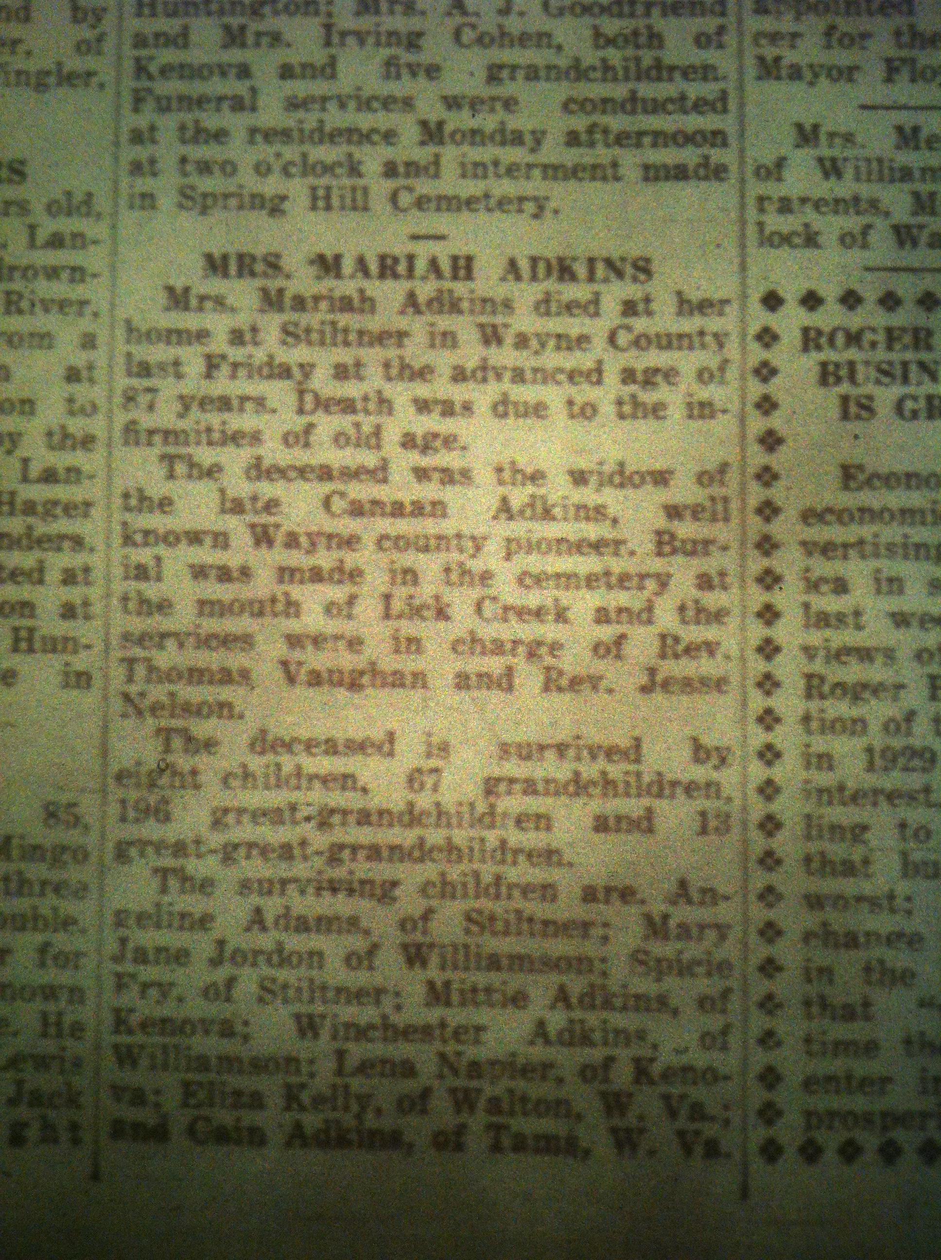 Mariah Adkins Obituary WCN 07.02.1931 1.JPG
