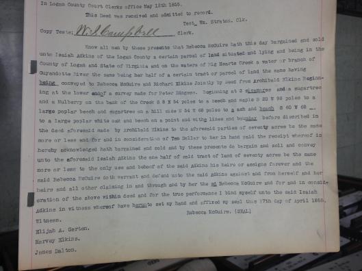 Rebecca McGuire to Isaiah Adkins Deed 1