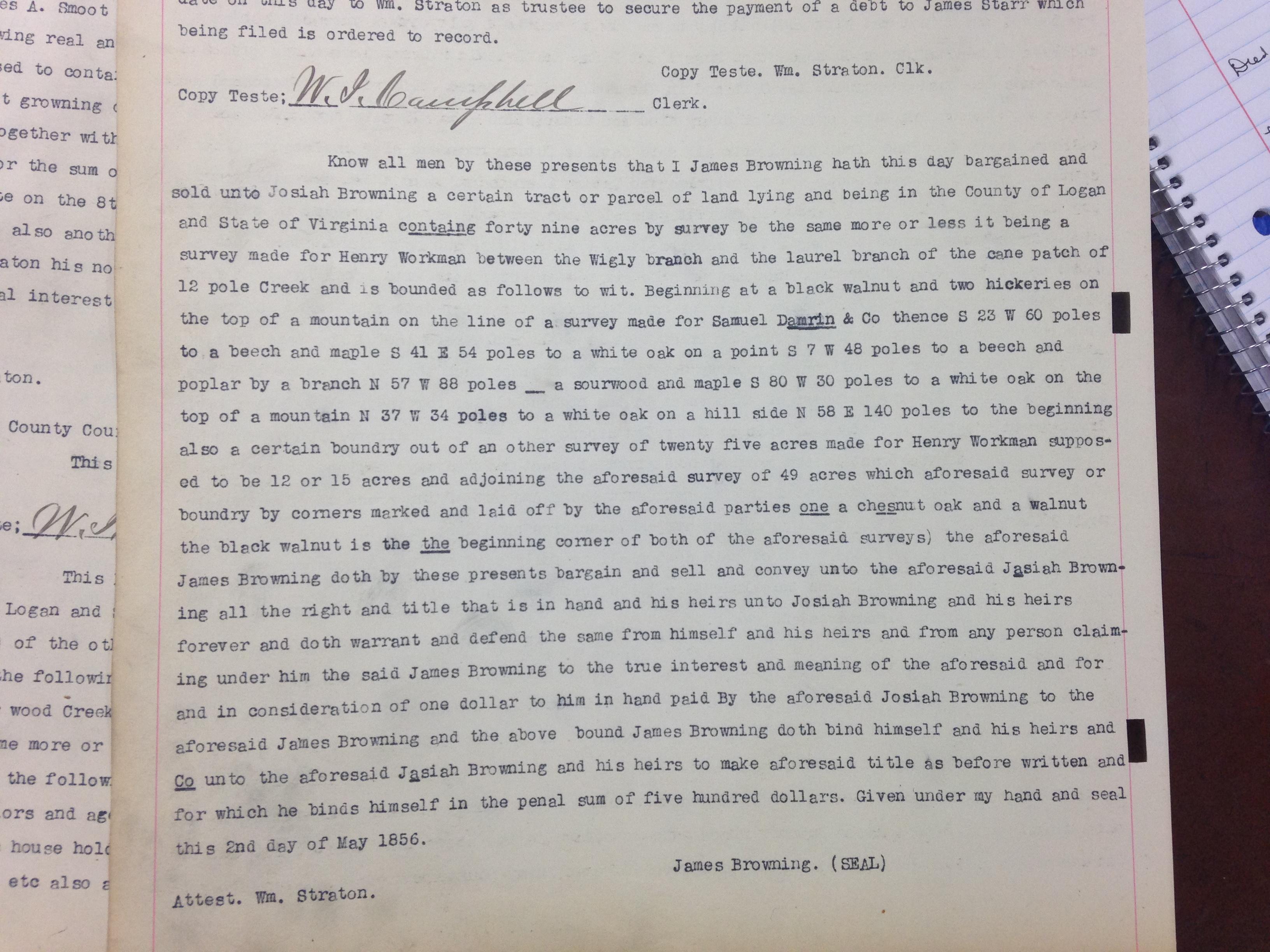 James Browning to Josiah Browning Deed 1
