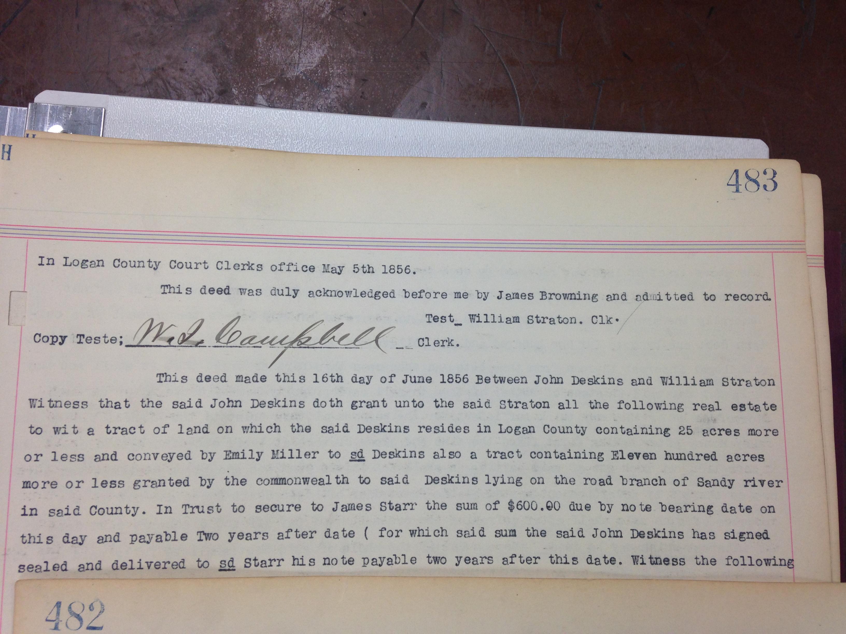 James Browning to Josiah Browning Deed 2