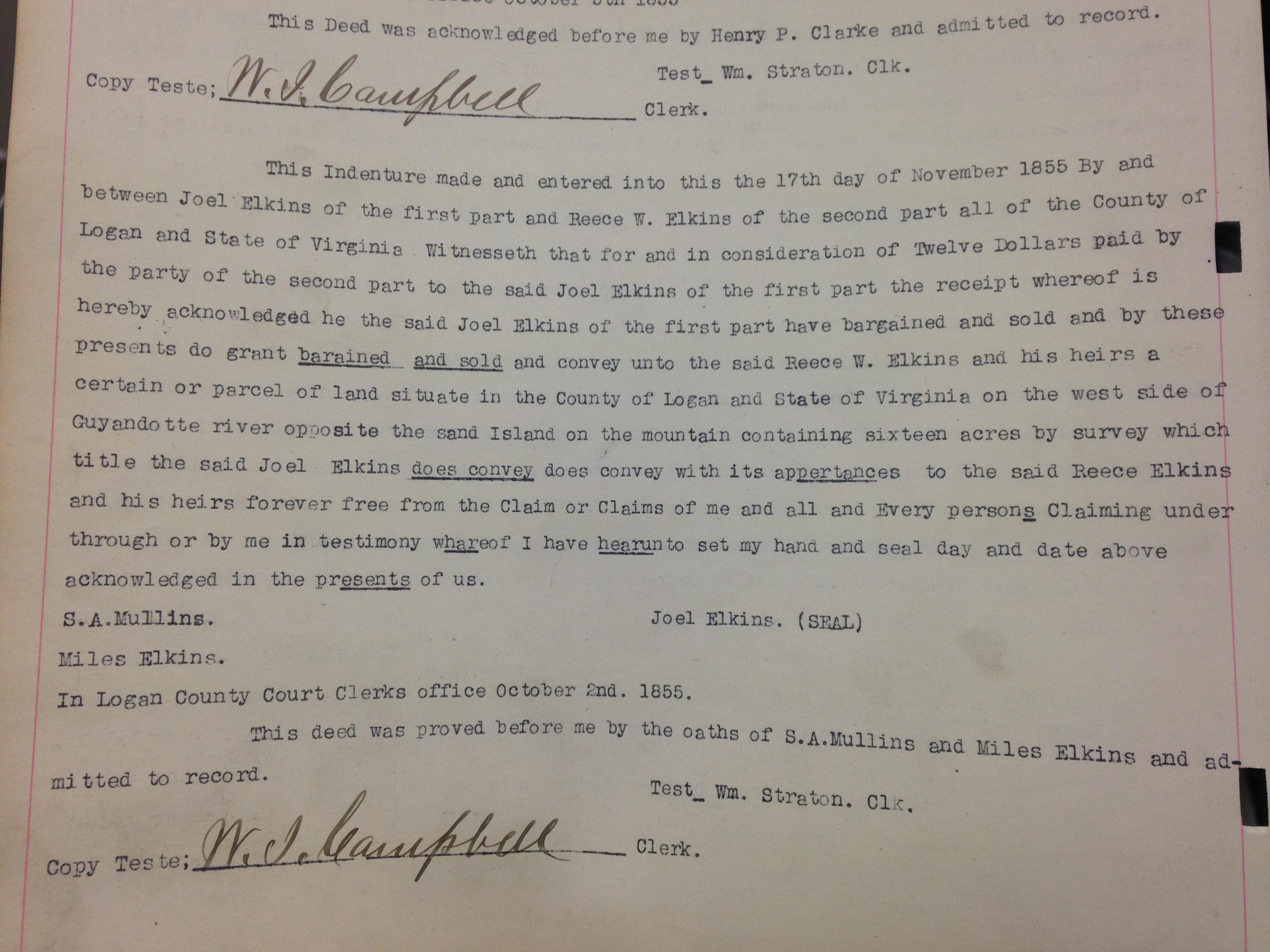 Joel Elkins to Reece W. Elkins Deed 1.JPG