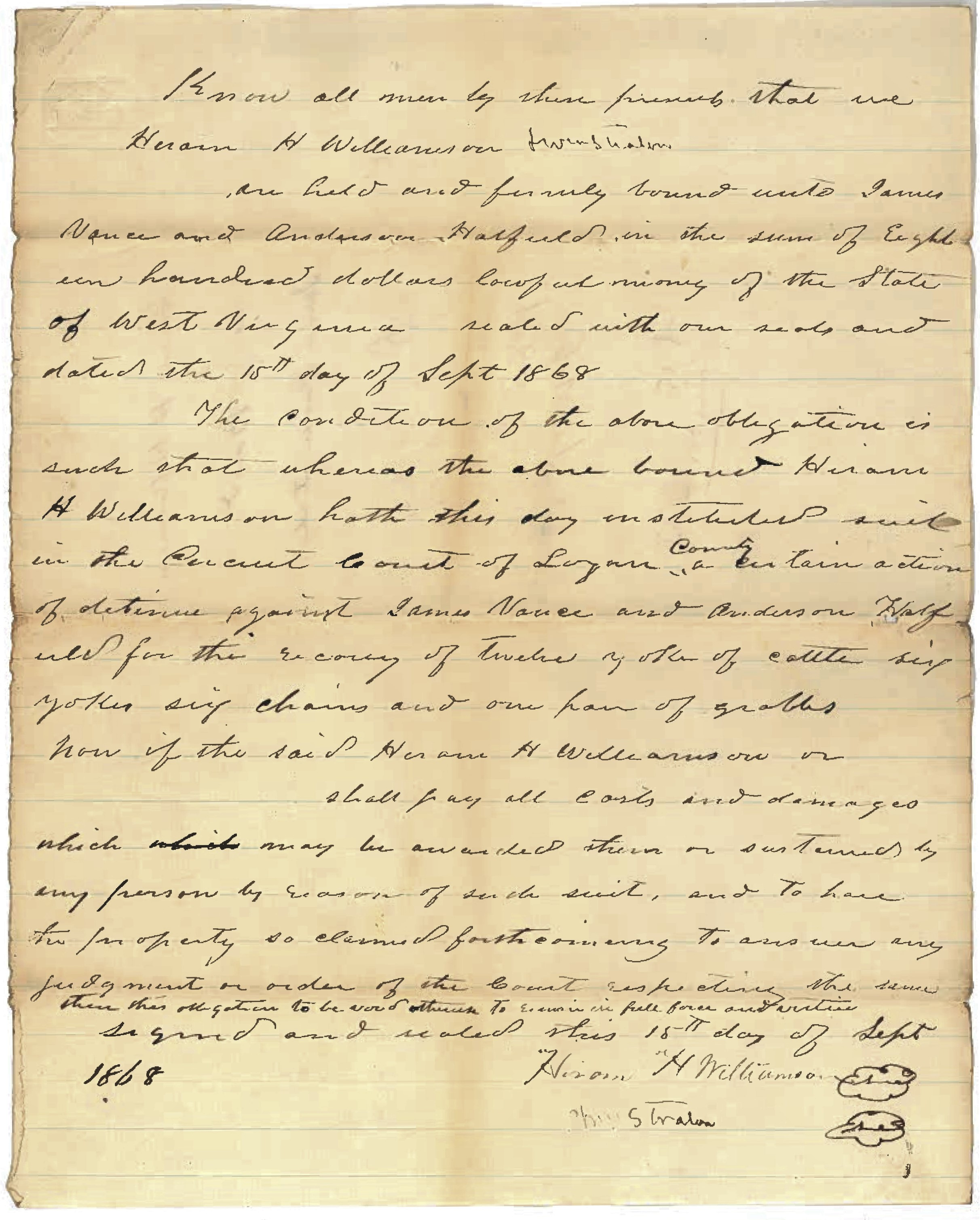 Anderson Hatfield and James Vance Document 1868 1