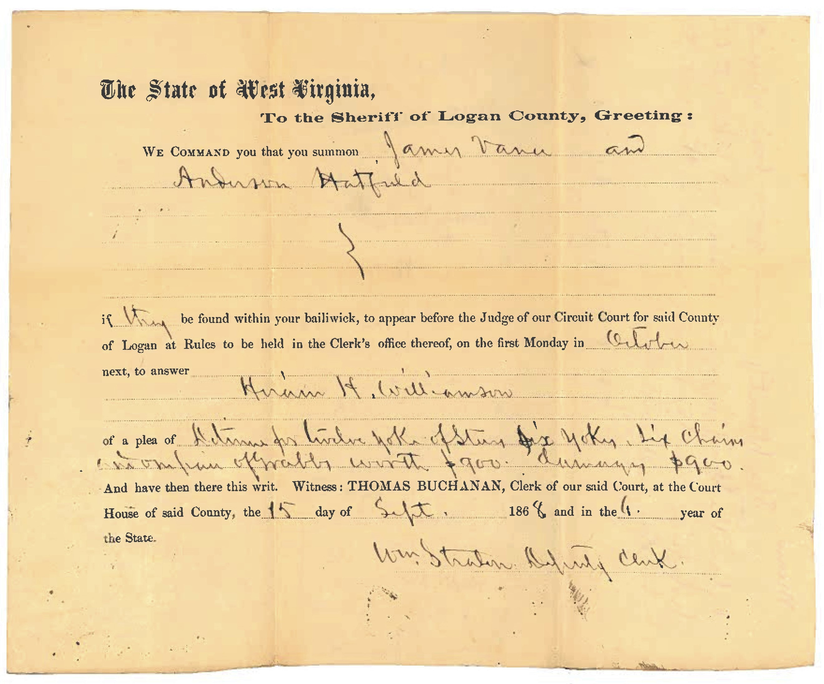 Anderson Hatfield and James Vance Document 1868 3