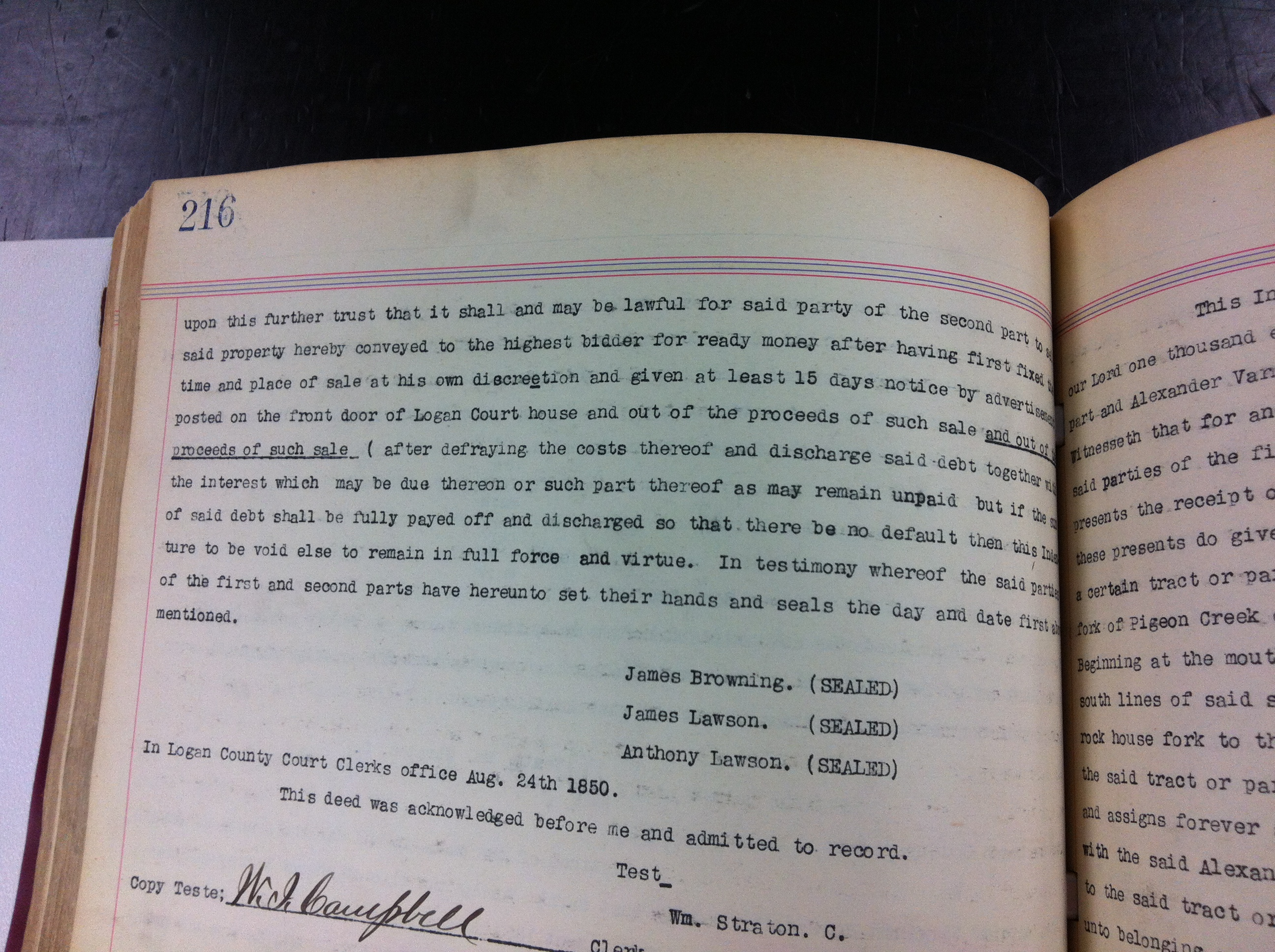 James Browning Trust Deed to Lawson 1850 2