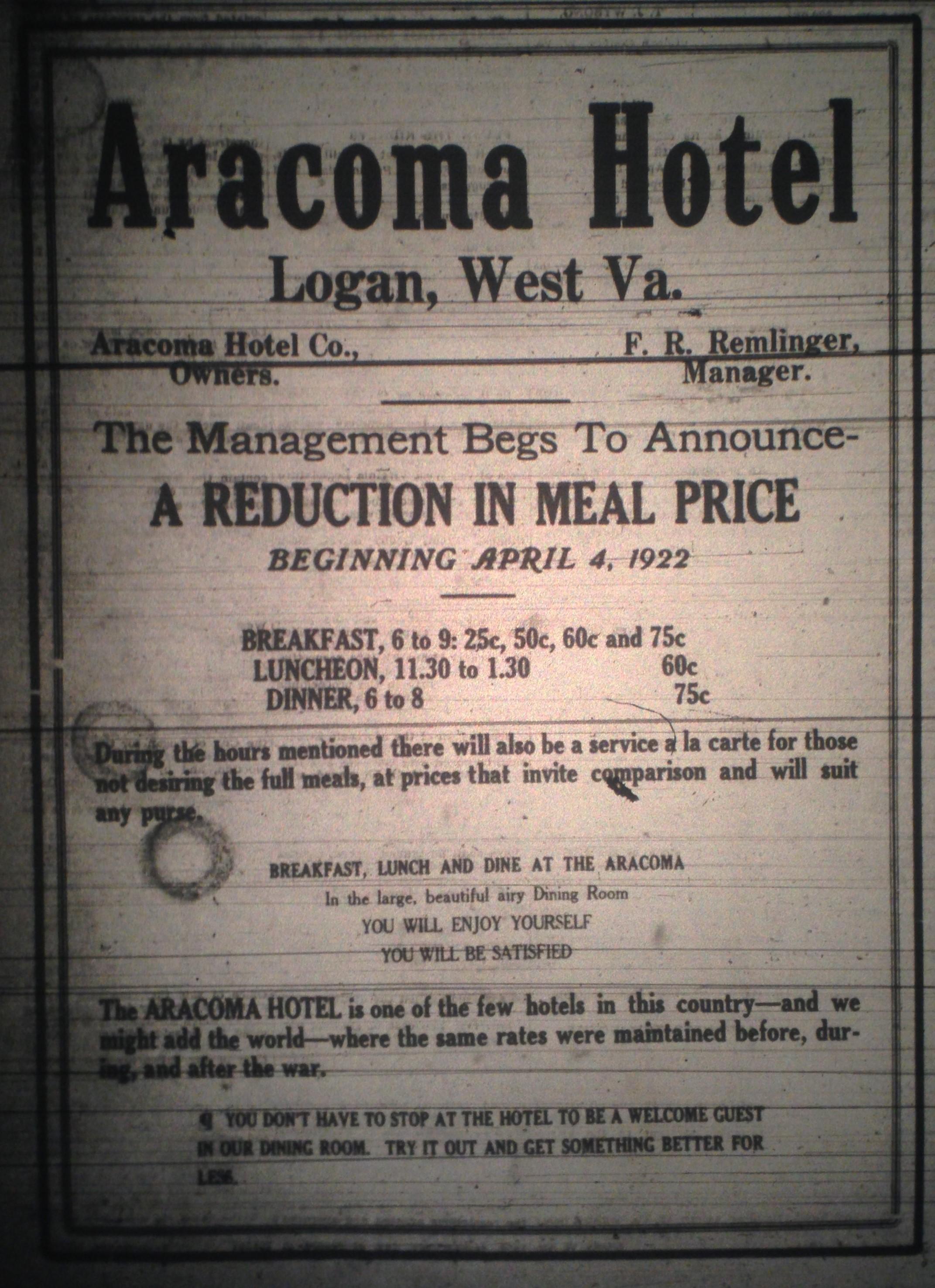 Aracoma Hotel Ad LB 03.31.1922.JPG
