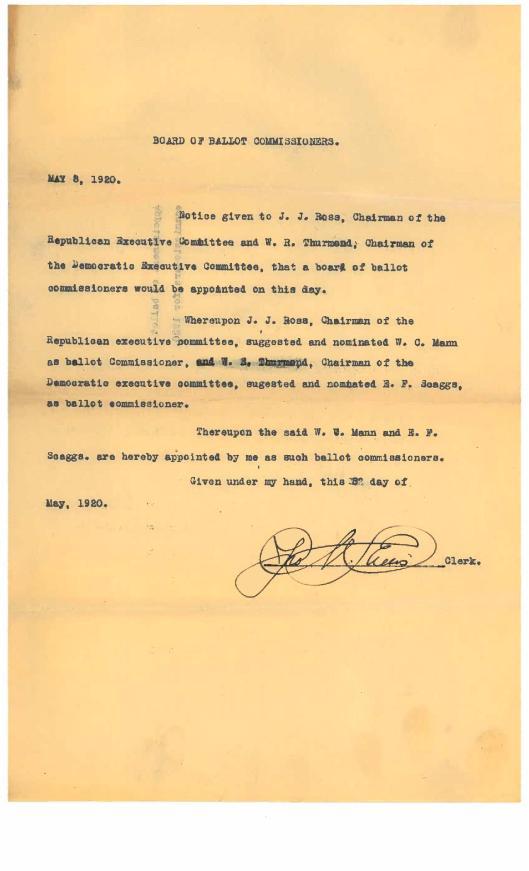 Ballot Commissioners 1920