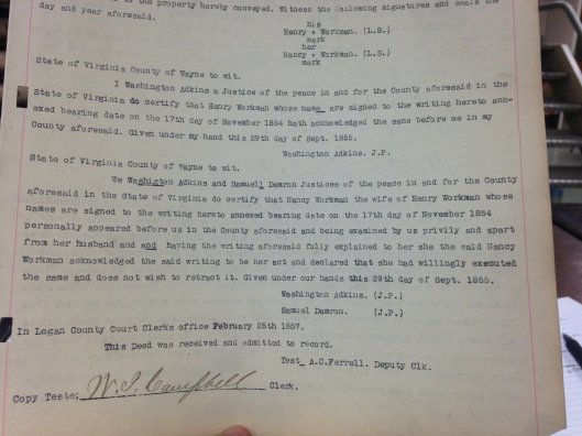 Henry Workman to James Browning Deed 2