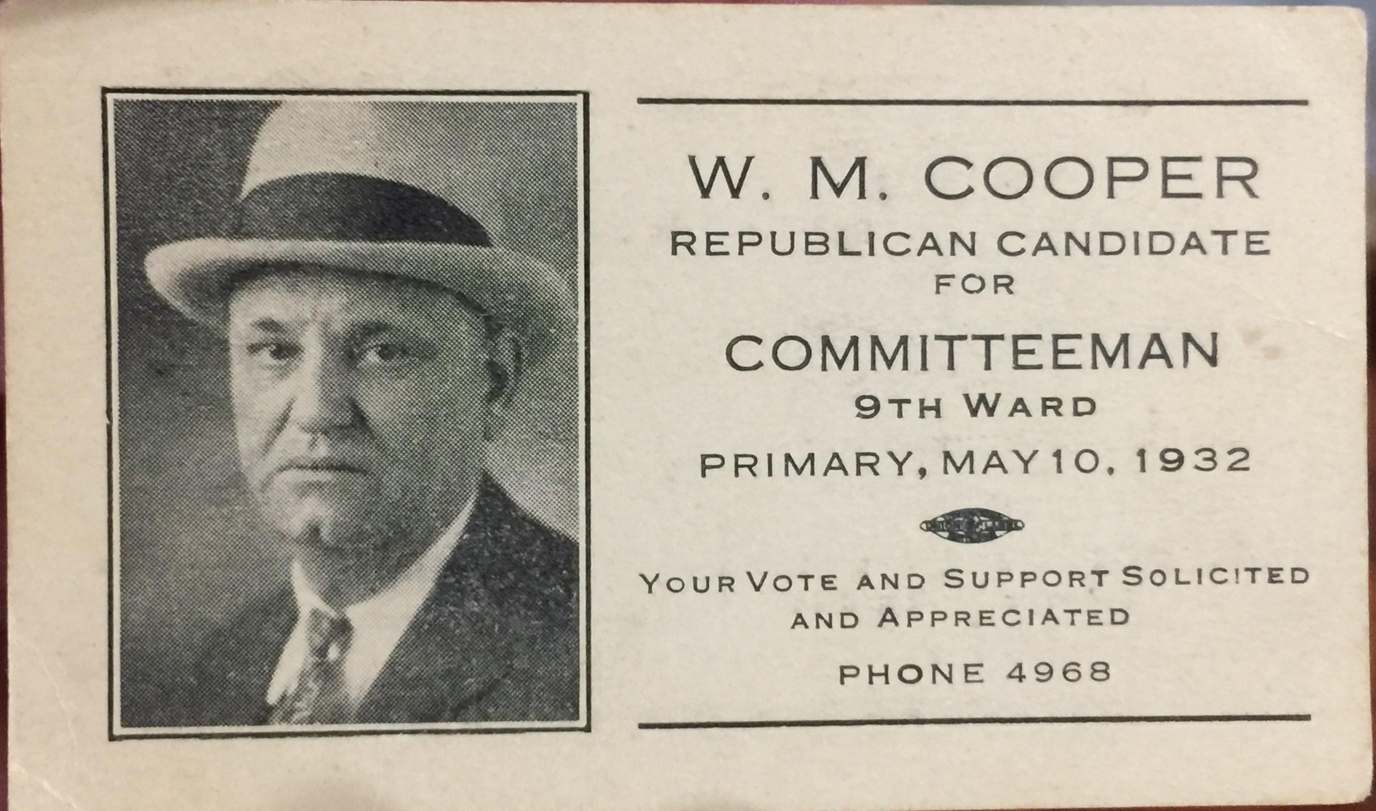 W.M. Cooper for Committeeman 1932