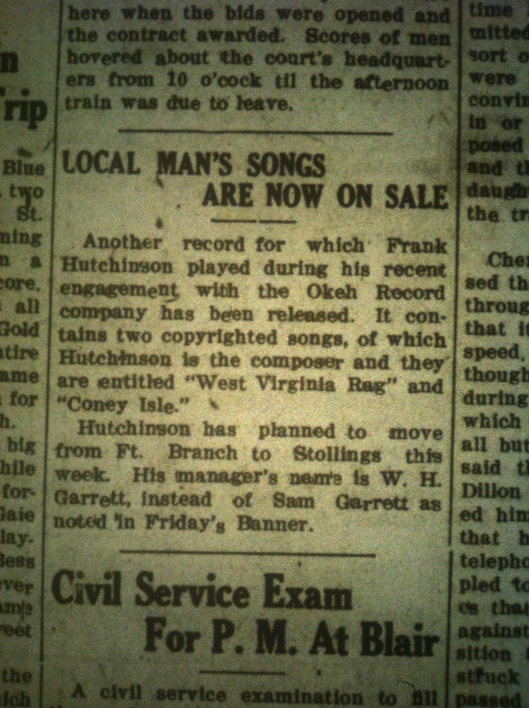 Frank Hutchinson's Songs for Sale LB 03.08.1927