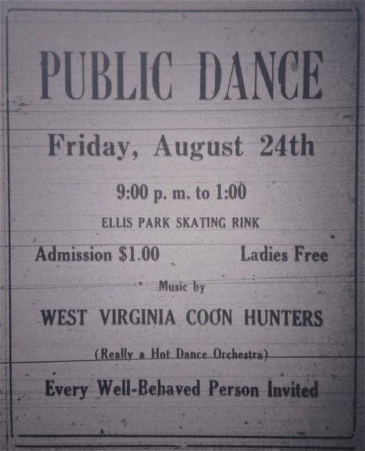 Public Dance at Ellis Park LB 08.24.1928